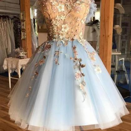 A Line Above-Knee Light Blue Tulle ..