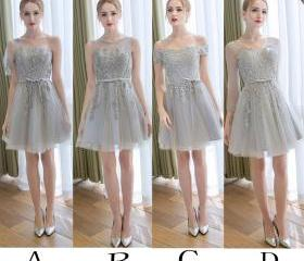 Gray Short Bridesmai..