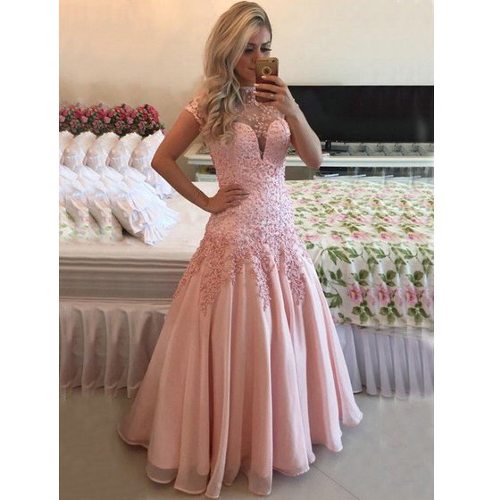 Open Back Prom Dress,A-line High Neck Prom Gowns,Chiffon Tulle Pearl Detailing Formal Dress,Short Sleeve Prom Dresses 2017,Evening Dress 2017,Party Dress.P076