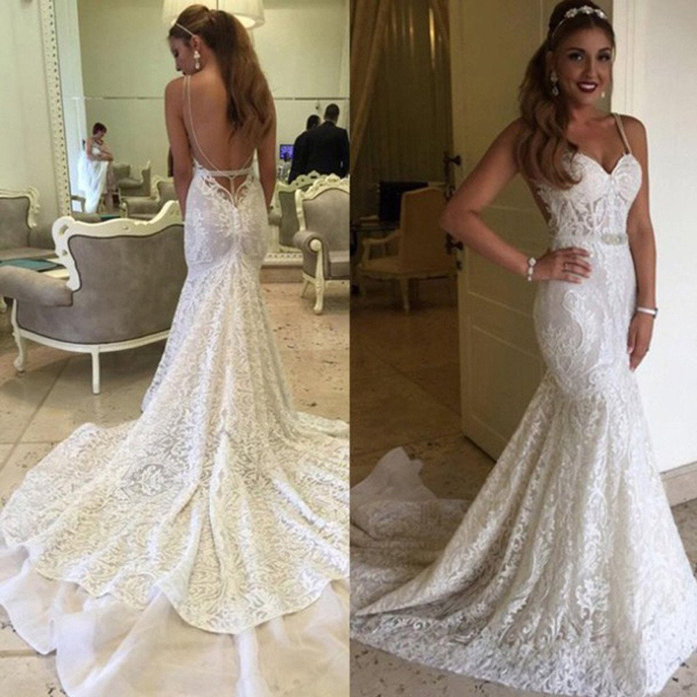 Spaghetti Straps Wedding Dressessexy Lace Wedding Gownmermaid Open