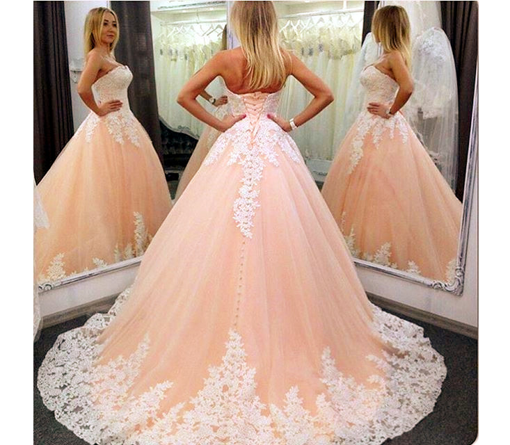 Ball Gowns Wedding Dresses,Wedding Gown,Strapless Lace Appliqued Wedding  Dress,Princess Vintage A-line Bridal Gowns,Tulle Wedding Dress,Pastel  Orange ...