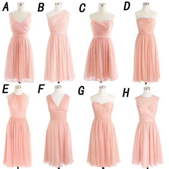 Mismatched Bridesmaid Dresses Soft Pink Short Dress Chiffon Gown Mini