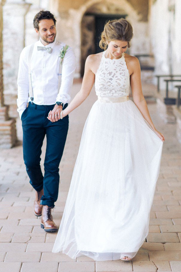 Simple Jewel Sleeveless Wedding Gown,Lace Top Halter Wedding Dress ...