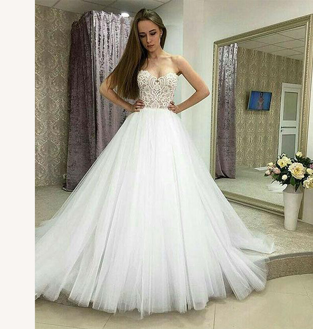 Strapless Sweetheart Tulle Long Wedding Dress With Lace Top,Princess ...
