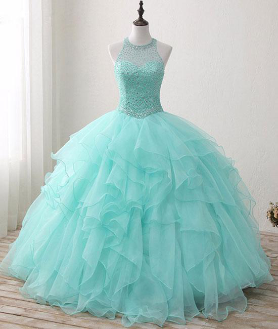 Mint Floor-length Jewel Sleeveless Ball Gown Beading Tulle ...