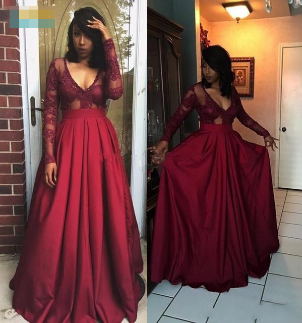 Dark Red Long Sleeve Deep V-neck Satin Floor Length Evening Dress ...