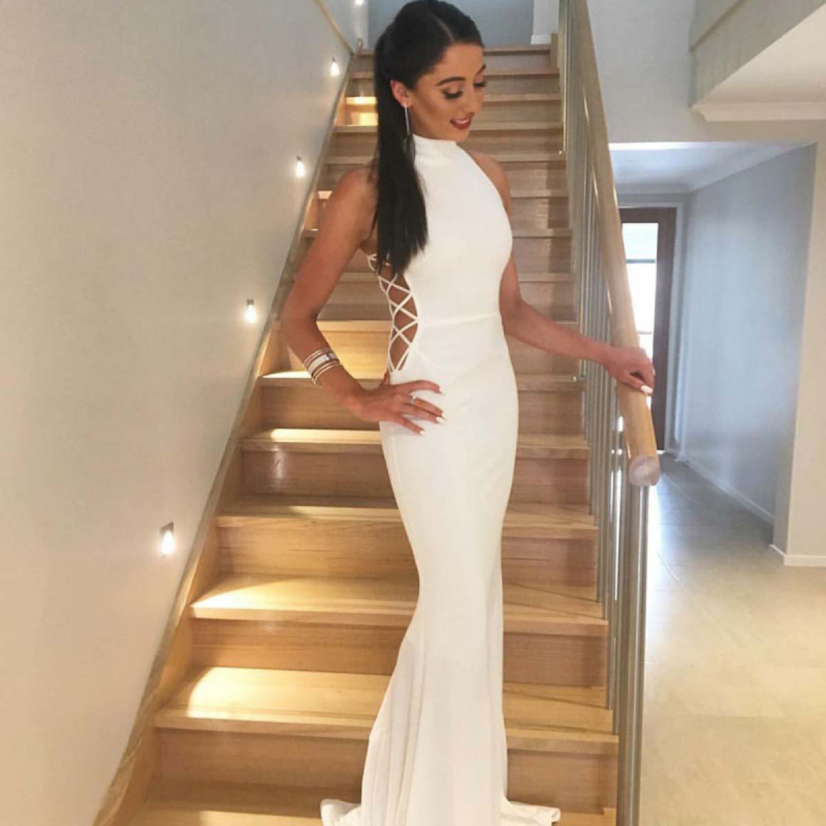 Mermaid High Neck Sweep Train White Stretch Satin Prom Dress,New Sleeveless Long Prom Dresses,P165