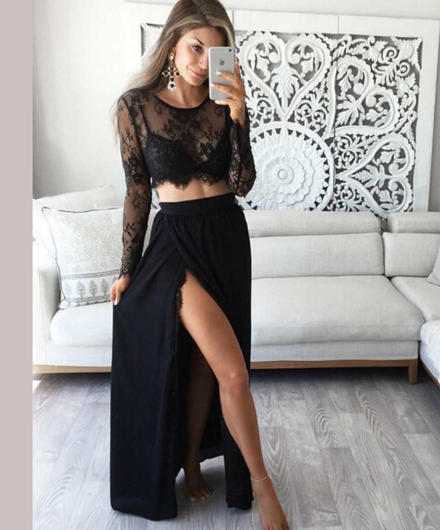 Stunning Black Two Piece Jewel Prom Dress,Long Sleeves Chiffon Prom Dress with Lace Top,Sexy Party Dress with Slit,P196