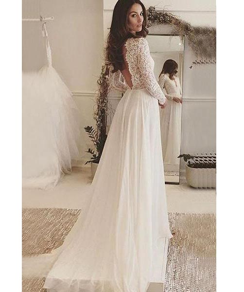 Ivory sexy deep v neck long sleeves backless chiffon wedding dress ivory sexy deep v neck long sleeves backless chiffon wedding dress with lacebeach junglespirit Choice Image