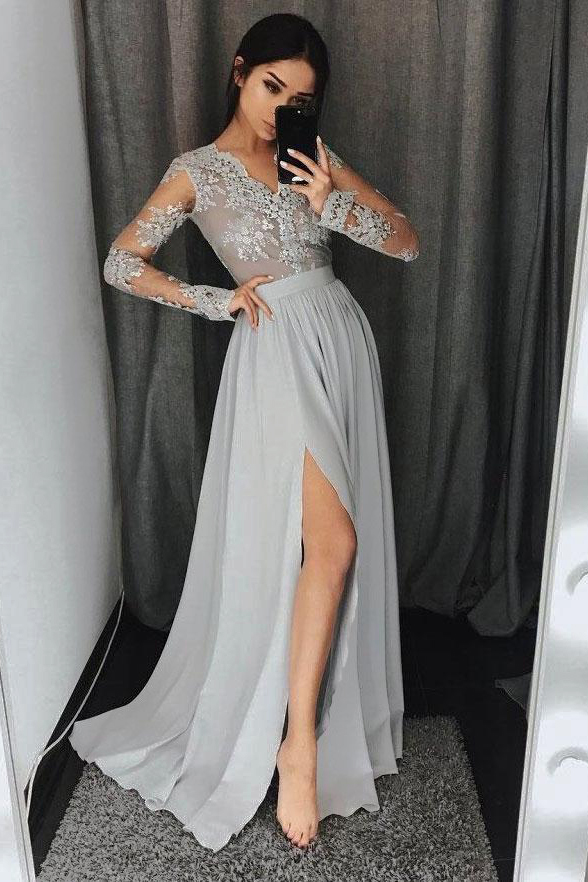 9d2a66bc46e See-through Lace Top Silver Prom Dresses Chiffon Long Sleeve Evening Dress  with Slit