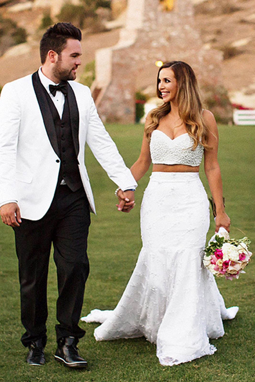 Two Piece Wedding Dress With Pearls, Mermaid Wedding Dresses, Unique ...
