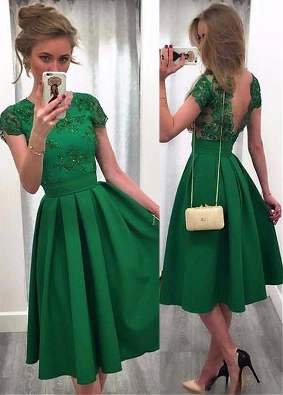 Charming Satin Jewel Neckline A-Line Homecoming Dresses With Lace Appliques, Green Knee Length Prom Dress with Short Sleeves H279