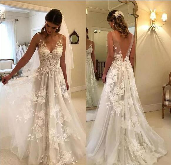 16f02877e0 Elegant A-Line V-Neck Tulle Open Back Ivory Wedding Dresses with Lace  Appliques