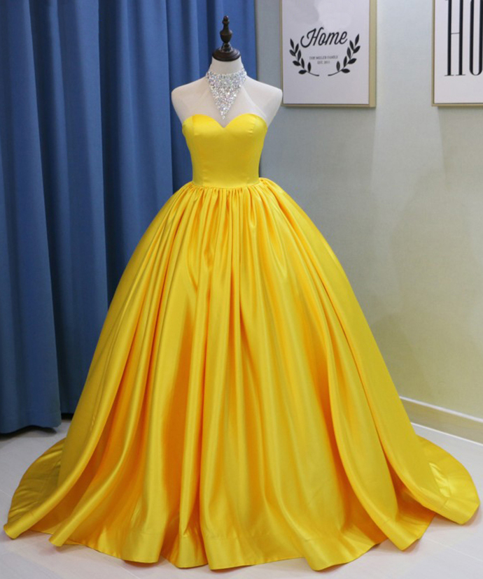 b7f228d9c37 Yellow Long Backless Bead Quinceanera Dress