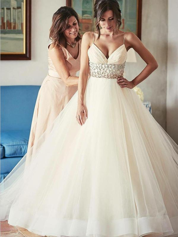 Stunning V-neck Sleeveless Long Cheap Ivory Wedding Dresses with Beading, Cheap Spaghetti Strap Tulle Wedding Dress W123