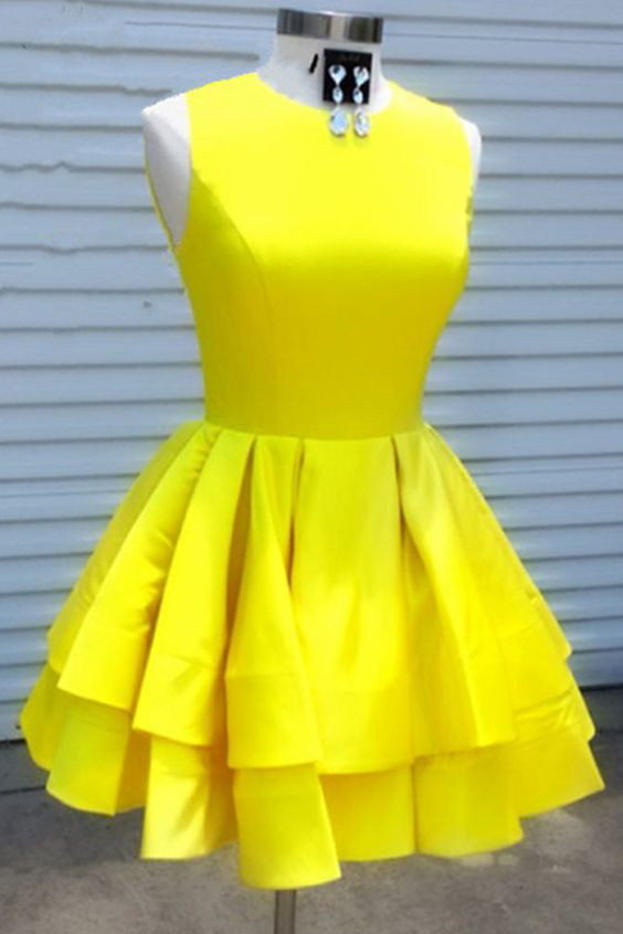 Yellow Short Sleeveless Homecoming Dresses, Simple Two Layers Short Prom Dresses H342