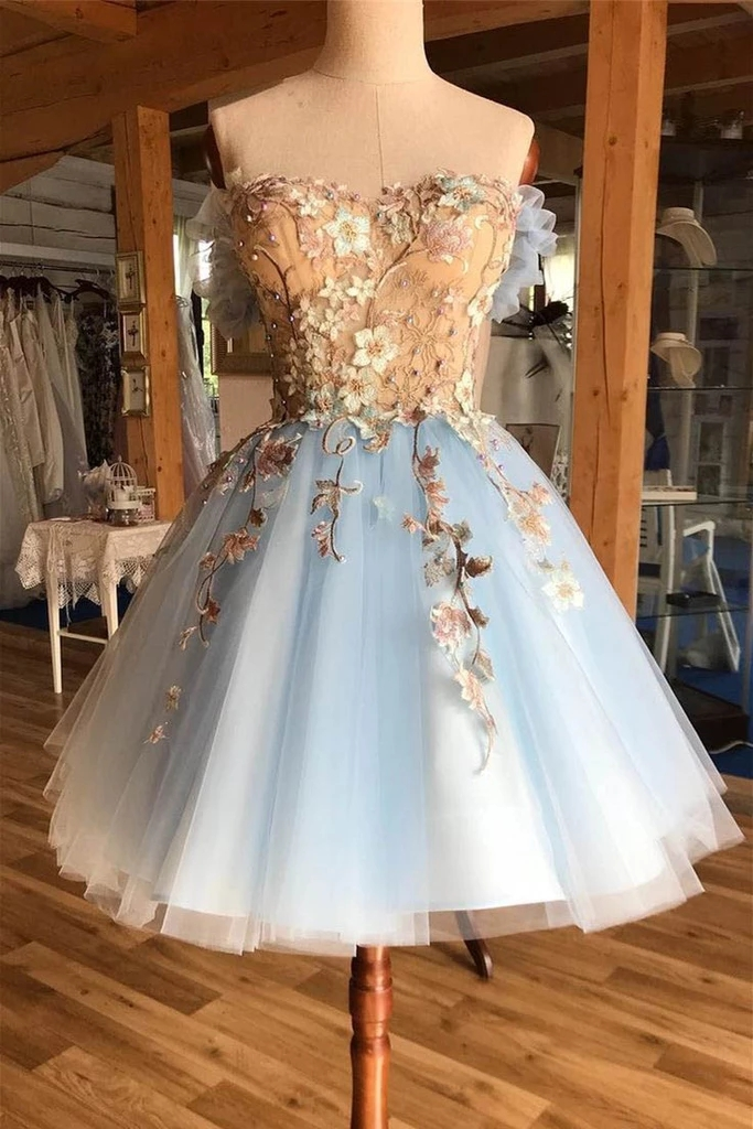 A Line Above-Knee Light Blue Tulle Homecoming Prom Dress with Appliques, Hot selling Homecoming Gown H346