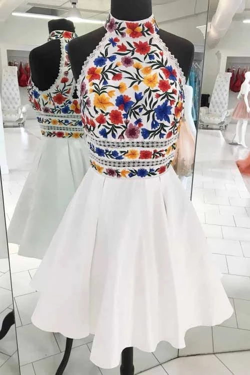 Unique White High Neck Short Prom Dresses, A Line Sleeveless Short Homecoming Dress, Hot Selling Short Prom Dress H348