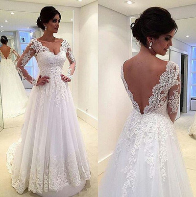 Long Sleeves V-neck Wedding Dress With V Cut Back. on Luulla d56f1f4f6