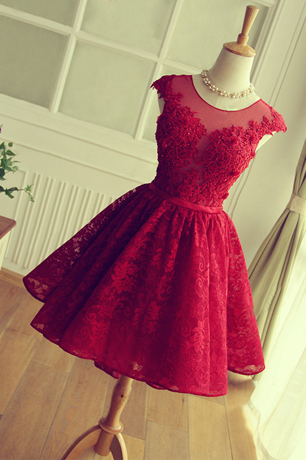4f13c14b8b Scoop A-line Short Lace Homecoming Dress