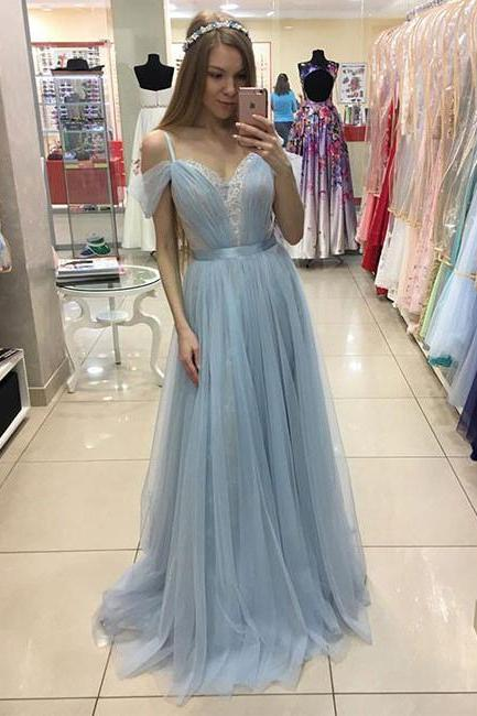 Glamorous Prom Dress,A-Line Off-Shoulder Prom Gowns,Light Blue Prom Gown,Tulle Lace Long Evening Dress,Long Formal Dress,Long Evening Dresses,Tulle Wedding Dress,P080