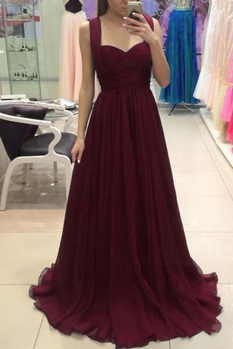 Simple Prom Gown,A-Line Prom Dresses,Sweetheart Bridesmaid Dress,Burgundy Chiffon Long Evening Dress,Sleeveless Prom Dress,Long Formal Dresses,Evening Dresses,P082