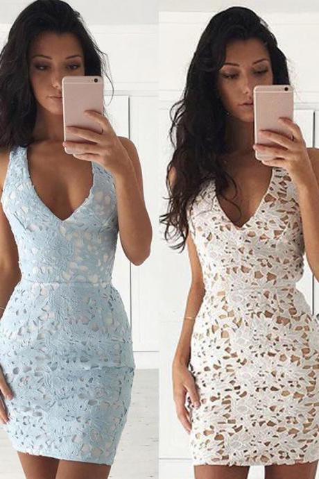 V Neck Homecoming Dress,Sleeveless Party Dress.Lace Bodycon Mini Dress,Short Prom Dresses,Backless Prom Dresses,Fashion Party Dress,Sexy Cocktail Dresses,H006