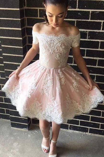 Off the Shoulder Homecoming Dress,Cute A-Line Off-Shoulder Prom Dress,Lace Pink Short Homecoming/Prom Dress,Lace Cocktail Dresses,Short Party Dress,Graduation Dress,H010