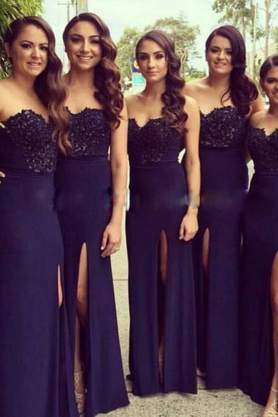 Custom Made Navy Blue Sweetheart Neckline Lace Floor Length Bridesmaid Dress with High Split