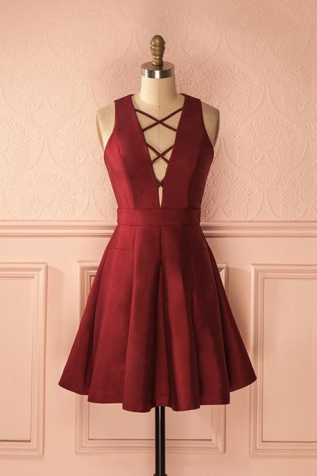 A-Line Homecoming Dresses,V-Neck Sleeveless Lace-Up Short Prom Dress,Short Burgundy Homecoming Gown,Satin Homecoming Dress,Simple Party Gown,H017