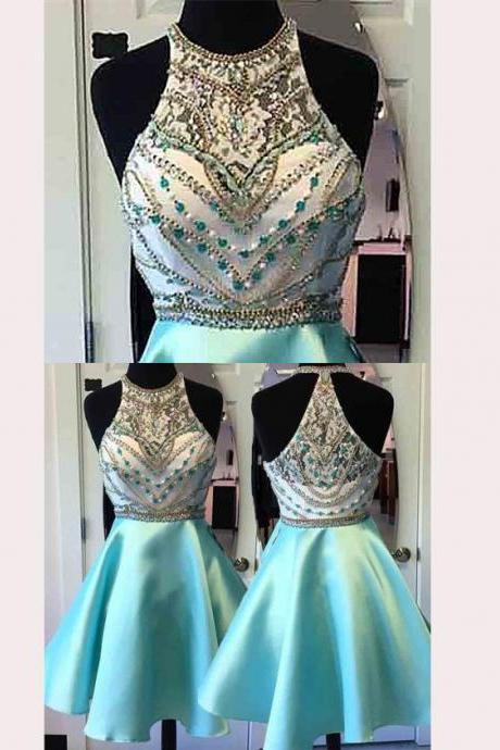 Cheap Beading Homecoming Dresses 2017,A Line Prom Dress,Short Prom Dress,Fashion Satin Homecoming Dress,Sexy Party Dress,Custom Made Sleeveless Party Gown,H018