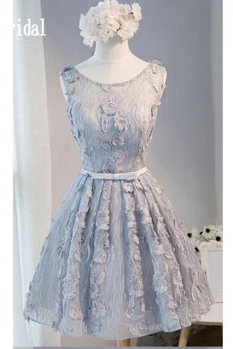 Lace Homecoming Dress,Cute Homecoming Dresses,Short Homecoming Dress For Teens,New Fashion Sleeveless Sweet 16 Gowns,Appliques Graducation Dresses With Belt,H020