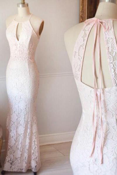 Pretty Halter Prom Dress,Light Pink Lace Prom Dress,Mermaid Evening Dress,2017 Bridesmaid Dress,Lace Bridesmaid Dress,Sleeveless Prom Gowns,Mermaid Bridesmaid Gowns,P084