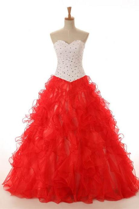Sweetheart Quinceanera Dresses,A-line Red Organza Quinceanera Dress,Big Strapless Quinceanera Dresses,Party Dresses,Ball Gowns Graduation Dresses,Quinceanera Dresses,Q011