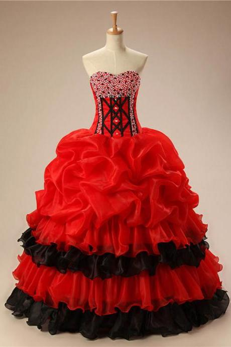 Strapless Quinceanera Dresses,Red And Black Organza Quinceanera Dress,Big Strapless Quinceanera Dresses,Party Dresses,Graduation Dresses,Quinceanera Dresses,Q012