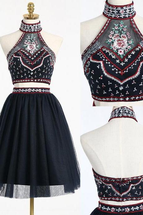 Black Two Piece Homecoming Dress with Embroidery,Two Piece Prom Dress,Short A-line Homecoming Gown,High Neck Graduation Dress,Sweet 16 Dress,H025