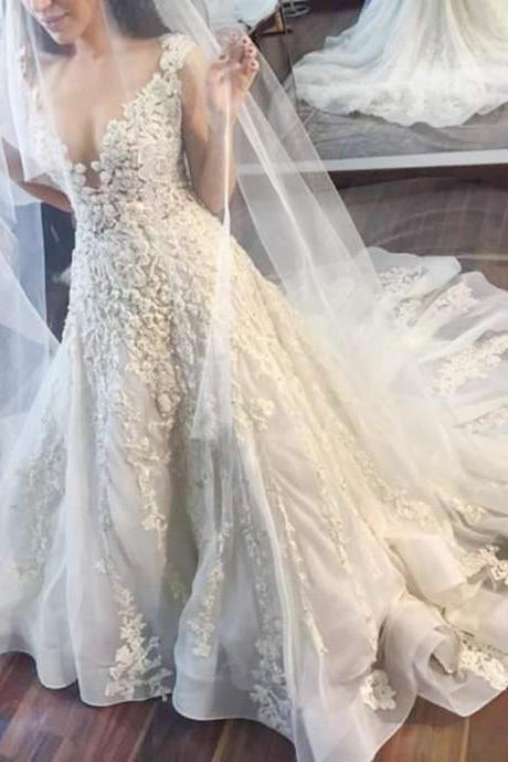 Glamorous A-line Jewel Wedding Dress,Illusion Back Court Train Tulle Wedding Dress,Sleeveless Bridal Dress with Lace Appliques,Beach Wedding Dress,W031