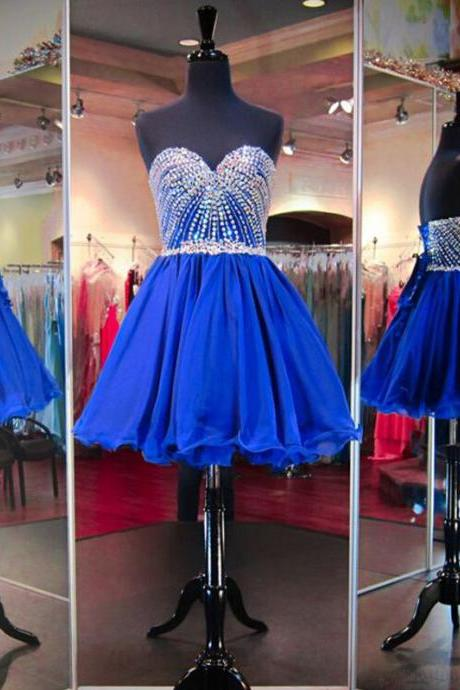 Strapless Shining Homecoming Dress,Royal Blue Sweetheart Beading Homecoming Gown,Short Tulle Prom Dresses,Homecoming Dresses,Short Prom Dresses,H027
