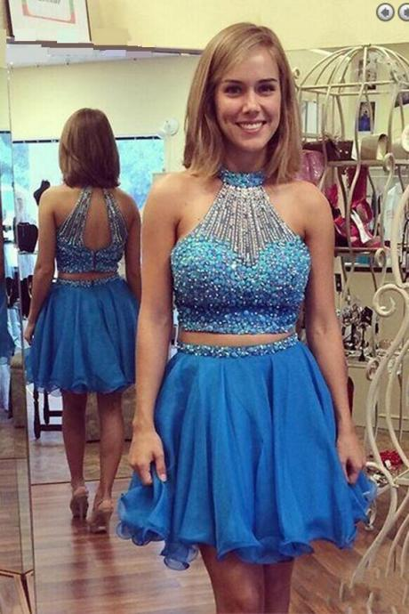 Exquisite Two Piece Key Hole Back Sleeveless Homecoming Dress,Two Piece Prom Dress,Short Sky Blue Homecoming Dress with Pearls,H047
