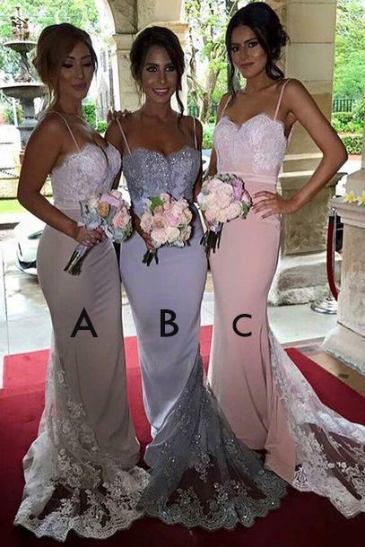 Gorgeous Spaghetti Mermaid Bridesmaid Dresses,Long Bridesmaid Dress with Train,Sexyt Wedding Party Dress,Prom Gowns,B018