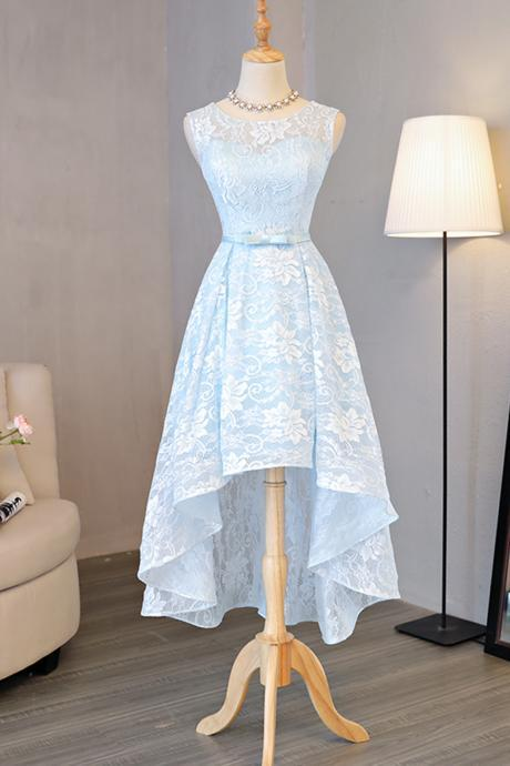 Light Blue Homecoming Gown,Lace Round Neck Homecoming Dresses,High-low Prom Dress,Homecoming Dress with Bow,H052