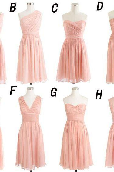Mismatched Bridesmaid Dresses,Soft Pink Short Cheap Bridesmaid Dress,Chiffon Bridesmaid Gown,Mini Bridesmaid Dresses,B022