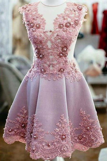 Charming Appliqued Homecoming Gown,Sleeveless Short Prom Gown,New Tulle Satin Graduation Dresses,Short Formal Dresses,Party Dress with Beads,H068