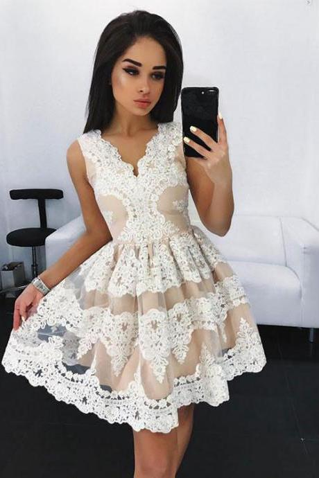 New Arrival Short Prom Gown,A-Line V-Neck Tulle Lace Short Homecoming Dress,Sleeveless Graduation Dresses,Mini Dresses with Appliques,H076