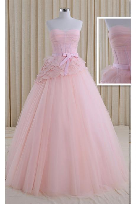 Romantic A-line Strapless Lace-up Bridal Dresses Floor-length Beach Wedding Dress,Princess Pink Wedding Dresses,Tulle Ball Gown Wedding Dress with Belt,W043