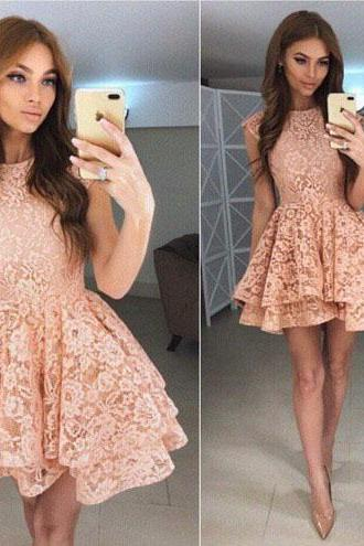 Charming A-Line Round Neck Homecoming Dress,Short Prom Dress,Mini Dress,Lace Cocktail Dress,Lace Short Homecoming Dress,A-line Homecoming Gown,H083