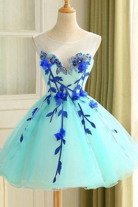 Appliqued Sleeveless Homecoming Dress Princess Beautiful Hand-Made Flower Short Prom Dress Party Dress,Poofy Tulle Homecoming Gown,H088