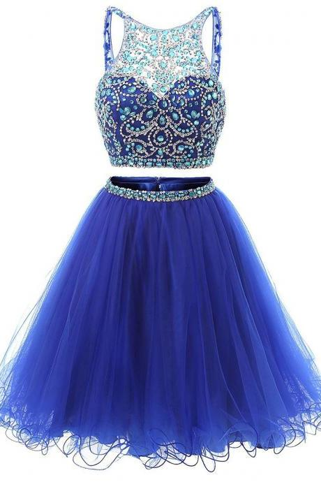 Illusion Sequins Crystal Homecoming Dress,Shining Two Piece Low Back Short Prom Dress,Royal Blue Mini Tulle Homecoming Dress,H093