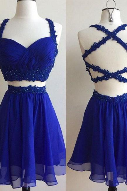 Royal Blue Two-Piece Short Homecoming Dress with Backless Beading,Two Piece Prom Dress,Short Chiffon Prom Dress,Straps Sweetheart Junior Dress,H106