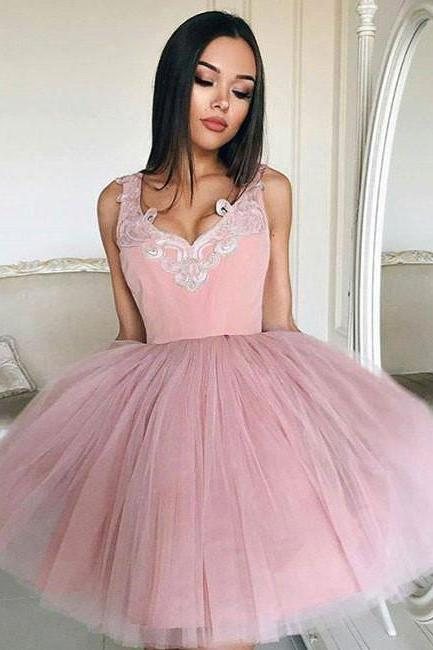 2017 Homecoming Dress Tulle Straps Appliques Short Prom Dress Party Dress,V-Neck Blush Pink Sleeveless Homecoming Dress,H121